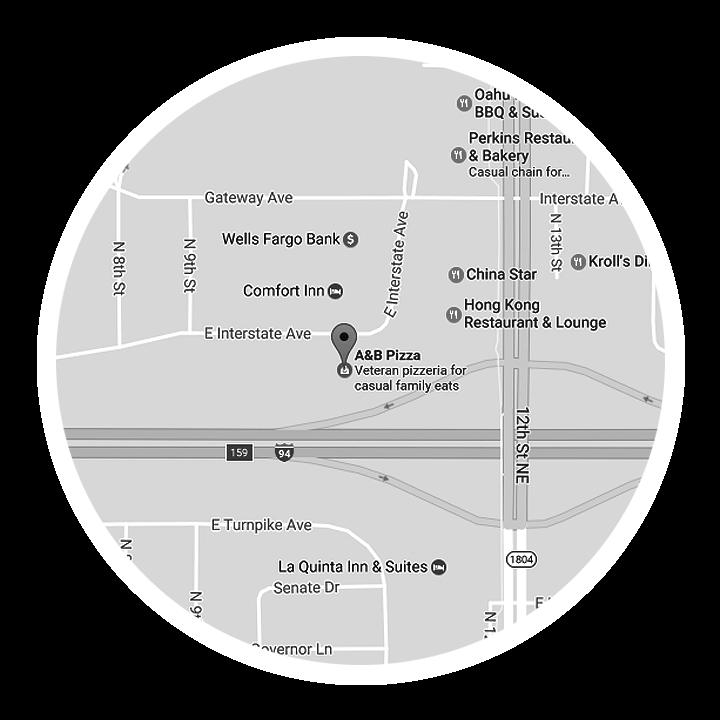map a&b pizza interstate ave bismarck
