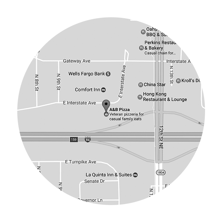 map a&b pizza interstate ave bismarck
